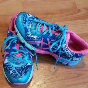 Asics neon pink & blue tennis shoes